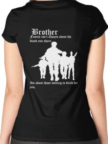 Family isn't always about the blood you share,  Its about those willing to bleed for you. Women's Fitted Scoop T-Shirt