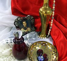 Glass, brass and red satin by Antionette