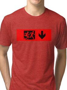 Accessible Means of Egress Icon and Running Man Emergency Exit Sign, Right Hand Down Arrow Tri-blend T-Shirt