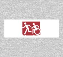 Accessible Means of Egress Icon and Running Man Emergency Exit Sign, Left Hand One Piece - Long Sleeve
