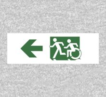 Accessible Means of Egress Icon and Running Man Emergency Exit Sign, Left Hand Arrow One Piece - Long Sleeve