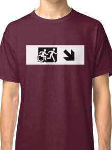 Accessible Means of Egress Icon and Running Man Emergency Exit Sign, Right Hand Diagonally Down Arrow Classic T-Shirt