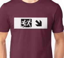 Accessible Means of Egress Icon and Running Man Emergency Exit Sign, Right Hand Diagonally Down Arrow Unisex T-Shirt