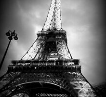 Eiffel Tower, Black and White 2 by LLStewart