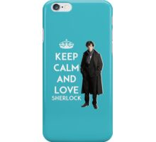 KEEP CALM AND LOVE SHERLOCK - ACQUA BLUE iPhone Case/Skin