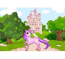 Unicorn with Castle Photographic Print