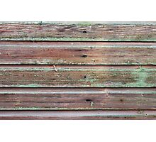 Horizontal plank wall with green mold Photographic Print