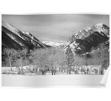 Colorado Rocky Mountain Winter Horseshoe Park BW Poster