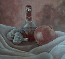 Still life with onion and garlic by Andrea Sabatt