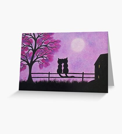 Romantic Cats, Cats and Moon, Cats Tree and House Silhouette Greeting Card