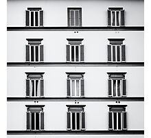 Facade of a Building in Florence ( Firenze ) Black and White Photographic Print