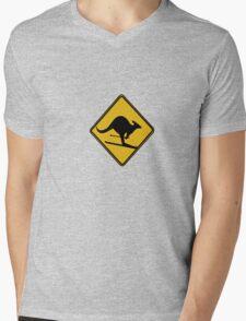 Skiing kangaroo Mens V-Neck T-Shirt