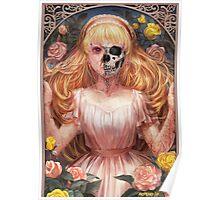 Little Zombie Girl in Garden Poster