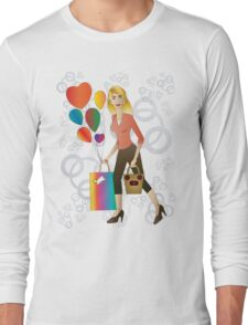 Beautiful blond woman with gift and balloons.  Long Sleeve T-Shirt