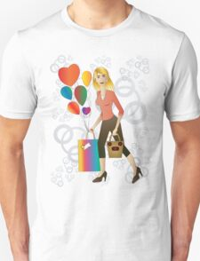 Beautiful blond woman with gift and balloons.  T-Shirt