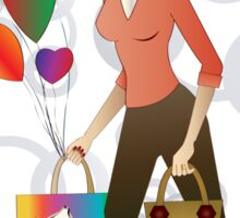 Beautiful blond woman with gift and balloons.  Sticker