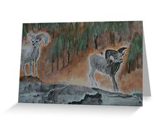 Rams on the Mountain Greeting Card