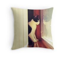 Carl in the window Throw Pillow