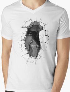 Titan in the wall Mens V-Neck T-Shirt