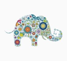 Retro Coloful Floral Elephant by artonwear
