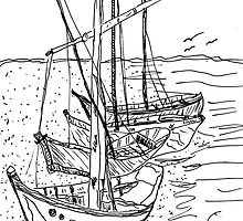 4 Sail Boats by SharonAHenson
