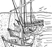 4 Sail Boats by Sharon A. Henson
