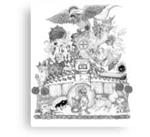 twitch plays pokemon red; the adventure remains! (black and white) Canvas Print
