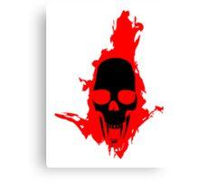 Flaming Vampire Skull Canvas Print