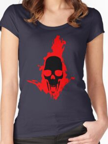 Flaming Vampire Skull Women's Fitted Scoop T-Shirt