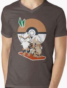 Pokemon Growlithe & Arcanine Mens V-Neck T-Shirt