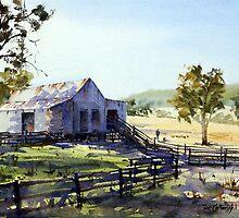 Farm Shed - Morning Light and Shadows by Joe Cartwright