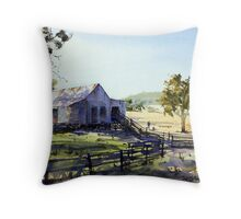 Farm Shed - Morning Light and Shadows Throw Pillow