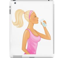 Vector illustration of Young woman drinking water iPad Case/Skin