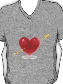 Vector illustration of Red heart shape T-Shirt