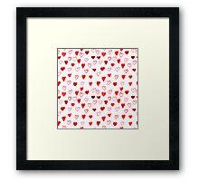 Watercolor Hearts pattern Framed Print