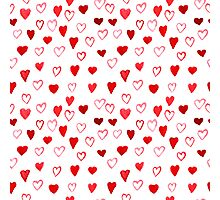 Watercolor Hearts pattern Photographic Print