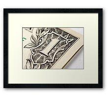 US Dollar bill, super macro photo Framed Print