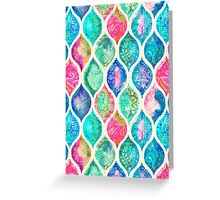 Watercolor Ogee Patchwork Pattern Greeting Card