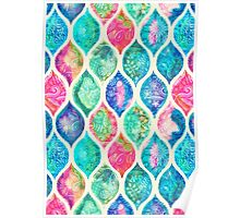 Watercolor Ogee Patchwork Pattern Poster