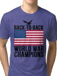 Distressed U.S. Flag & Eagle World War Champs Tri-blend T-Shirt