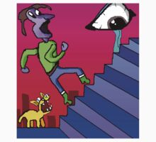 chased by a cat up the stairs and a big eye by Jinxtengu