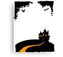 Happy halloween card with castle Canvas Print