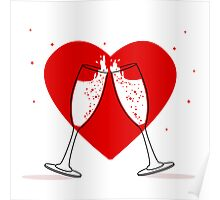Two Glasses of champagne Poster
