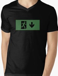 Running Man Emergency Exit Sign, Right Hand Down Arrow Mens V-Neck T-Shirt