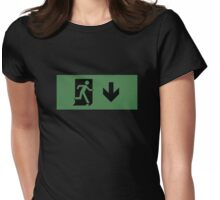Running Man Emergency Exit Sign, Right Hand Down Arrow Womens Fitted T-Shirt