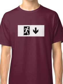 Running Man Emergency Exit Sign, Right Hand Down Arrow Classic T-Shirt