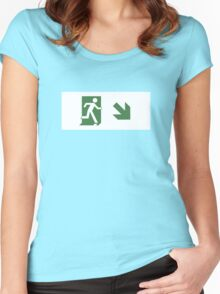 Running Man Emergency Exit Sign, Right Hand Diagonally Down Arrow Women's Fitted Scoop T-Shirt