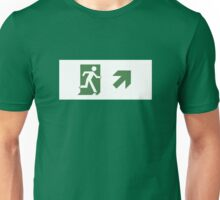 Running Man Emergency Exit Sign, Right Hand Diagonally Up Arrow Unisex T-Shirt