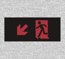 Running Man Emergency Exit Sign, Left Hand Diagonally Down Arrow One Piece - Long Sleeve