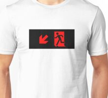 Running Man Emergency Exit Sign, Left Hand Diagonally Down Arrow Unisex T-Shirt